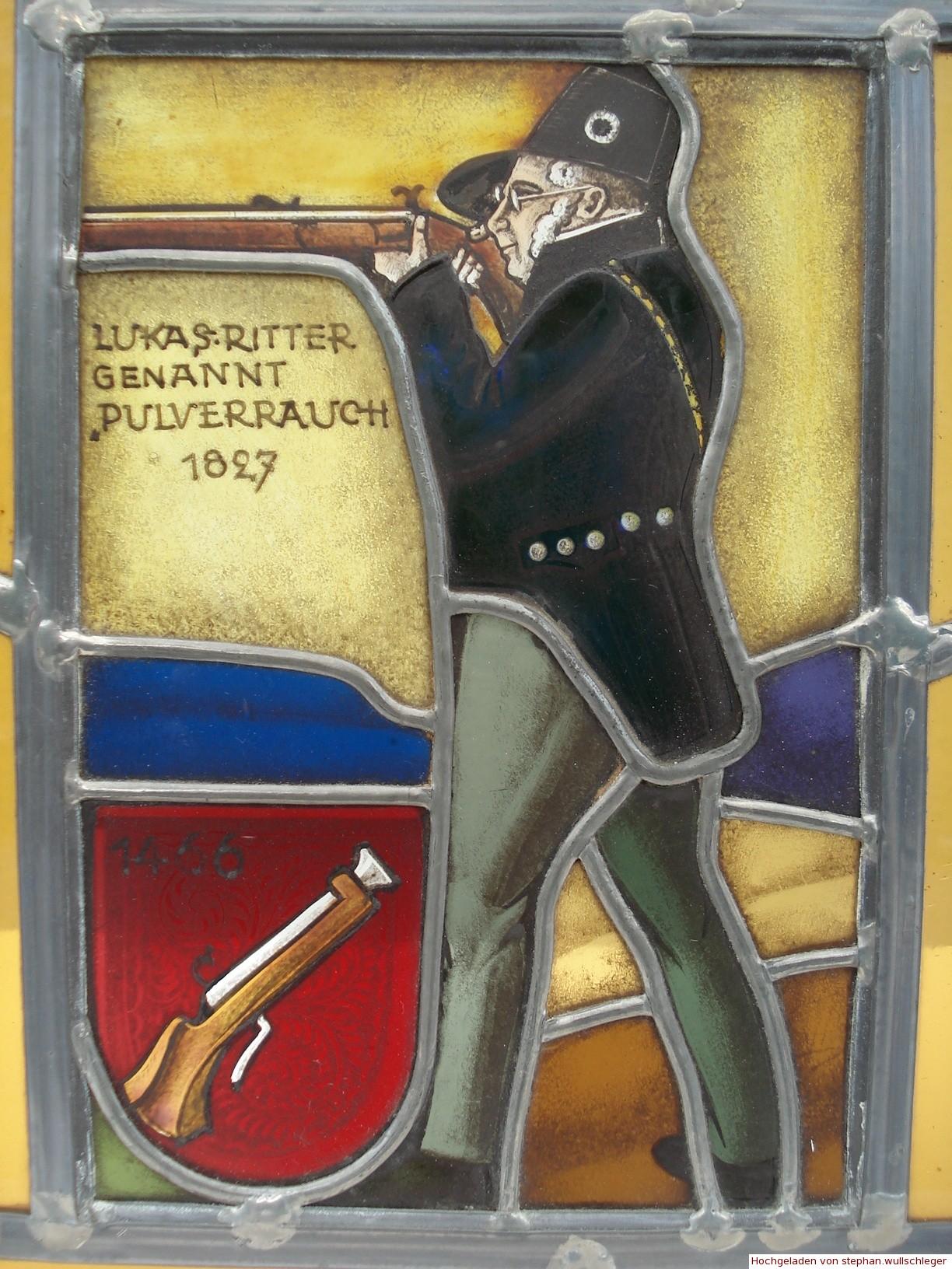 Wappenscheibe Ritter Pulverrauch