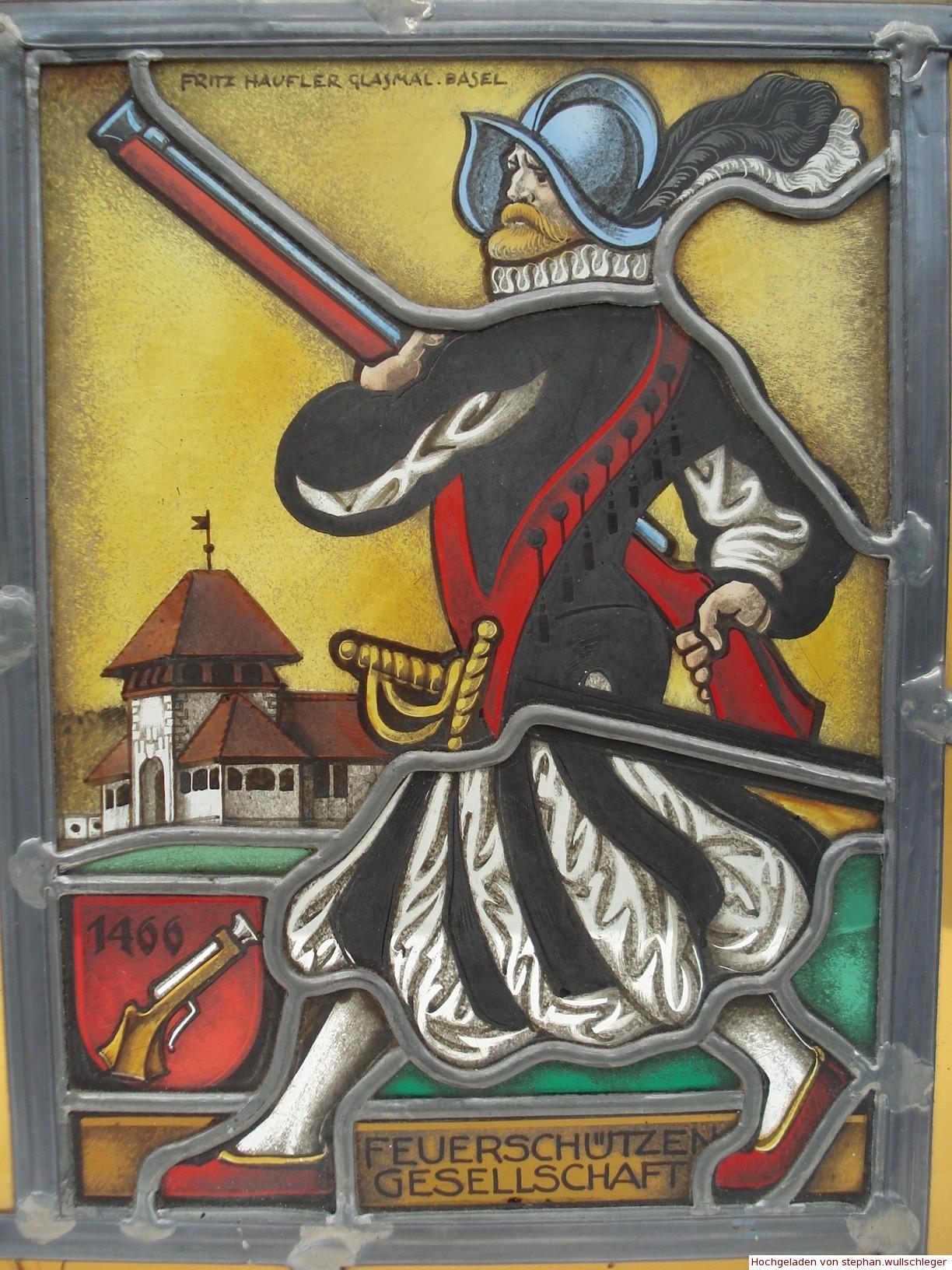 Wappenscheibe Schütze mit Türmli Allschwilerweiher