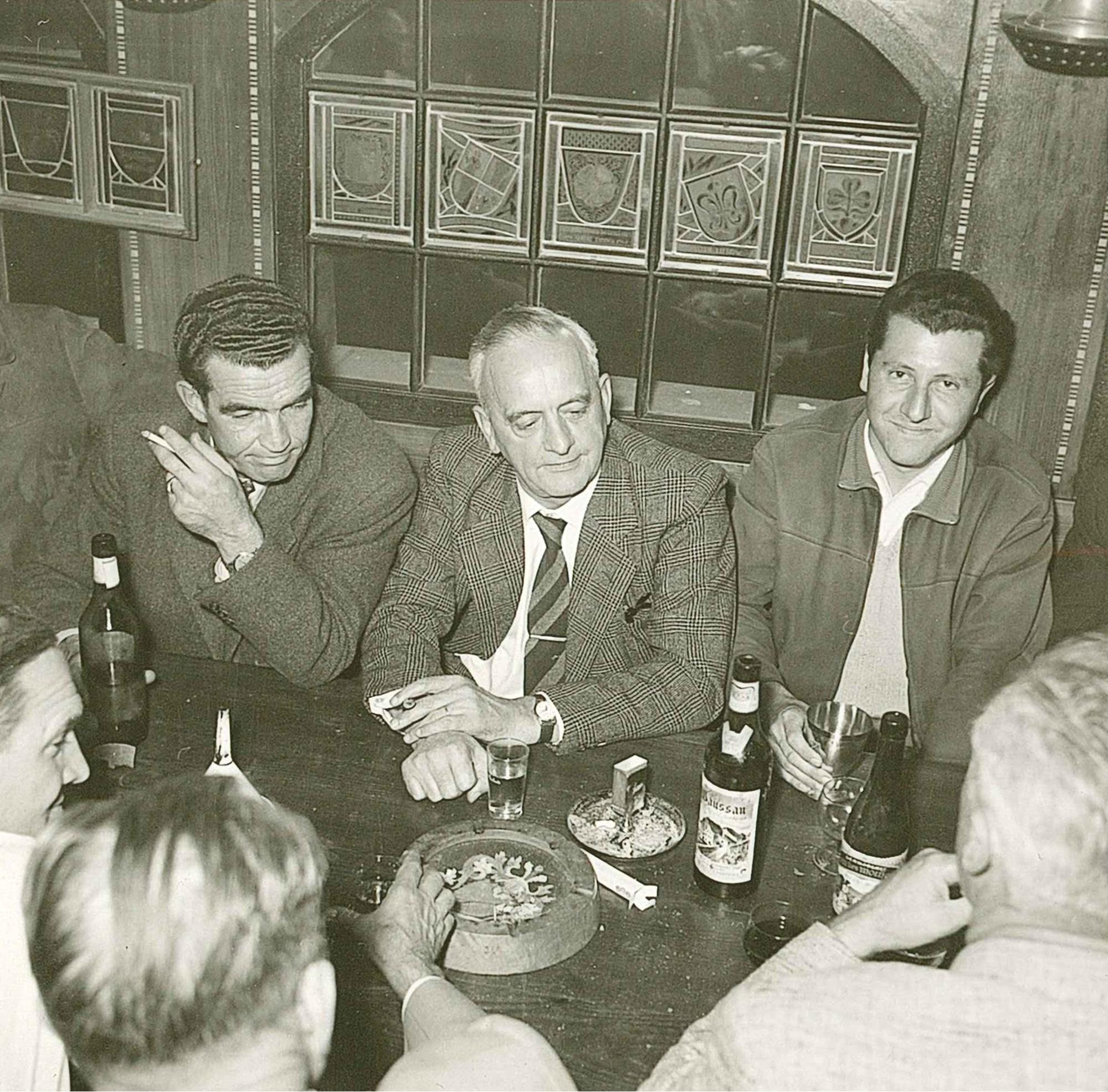 Im Türmli v.l.n.r. Dr. Hermann Achten, Dr. Hans Speich (OSM), Hans Isler sen.