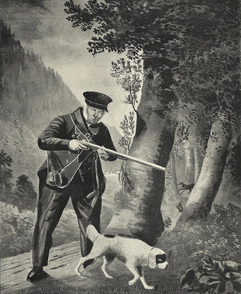 """Lukas Ritter genannt """"Ritter Pulverrauch"""" mit Hund Pafski auf der Jagd"""