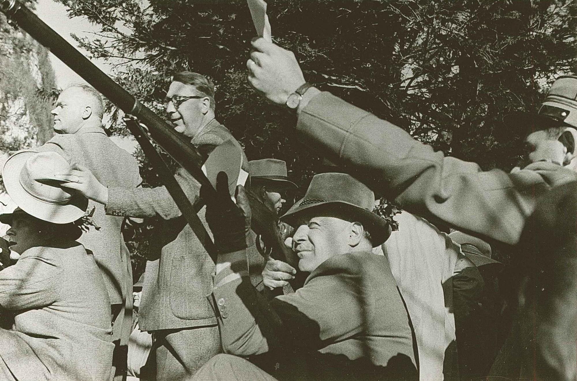 Rütli 1952 v.l. Ernst Lauer, Dr. Franz Huber, Dr. Adelbert Eckstein, Dr.h.c. Heinrich Küng, Dr. Heini Küng