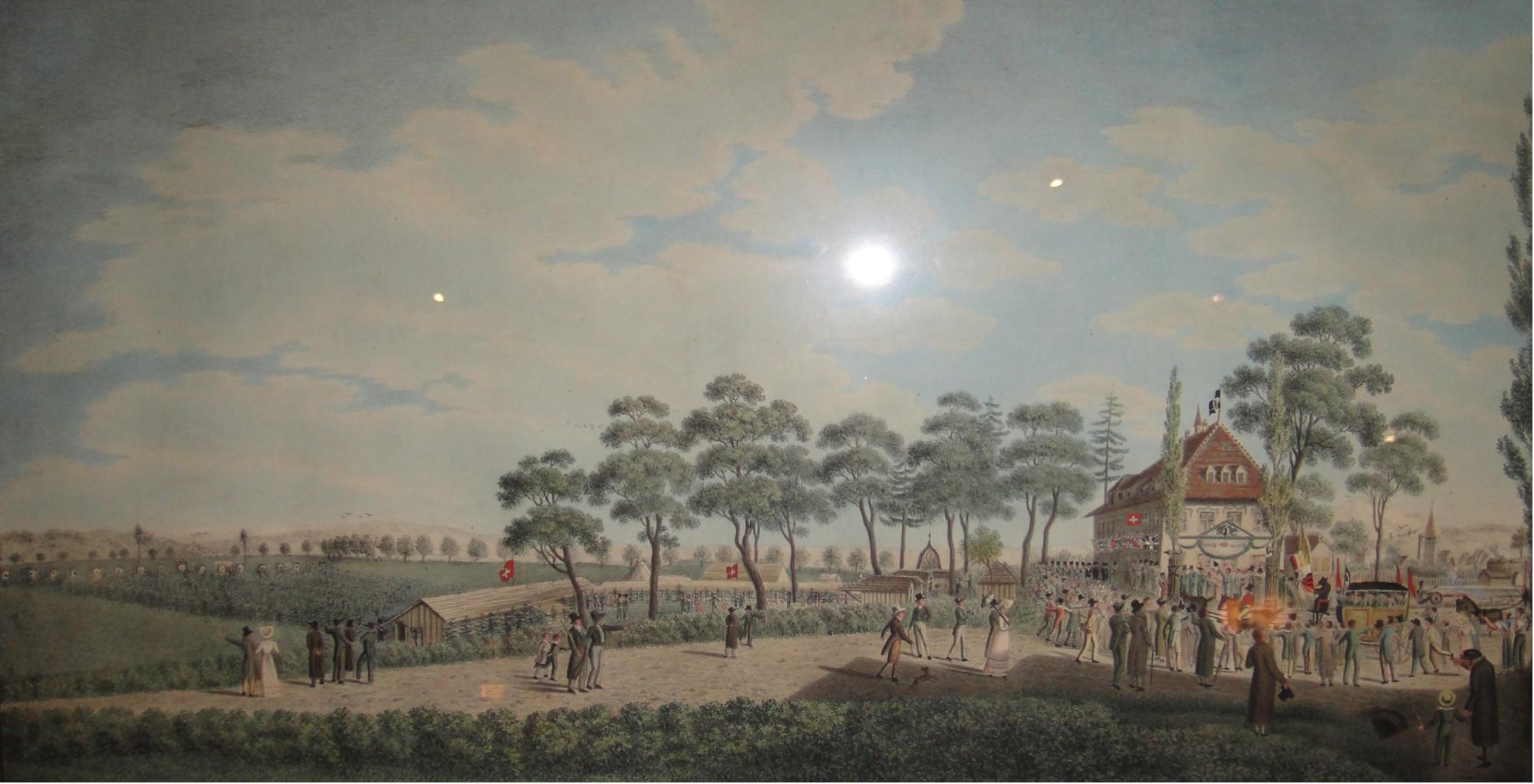 Eidg. Ehr- und Freischiessen 1827 auf der Schützenmatte Basel